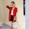 เสื้อคลุมสไตล์เกาหลี สีแดงแต่งลายสกรีน ทรงยาว น่ารัก พร้อมส่งจ้า