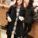 เสื้อโค้ทกันหนาว สีดำ ทรงสวย ใส่ได้หลายแบบ ผ้าดีบุซับในกันลม
