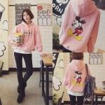 เสื้อกันหนาวฮู้ดดี้ Mickey Mouse มิกกี้เมาส์ สีชมพูอ่อน แฟชั่นเกาหลี น่ารักมากจ้า พร้อมส่ง