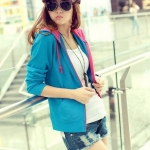 เสื้อคลุมแฟชั่นเกาหลี ลุคSport girl สุดน่ารัก มีฮูด พร้อมส่ง สีฟ้า