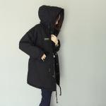 เสื้อคลุมกันหนาวฮู้ดดี้ ทรงโคล่ง สีดำ เท่ๆ ผ้าไม่หนามาก กันหนาวกันลม ซับในขนแมวนุ่มๆ พร้อมส่งจ้า