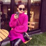 เสื้อไหมพรมตัวโคล่ง Sweater สีชมพูม่วง คอตั้ง ยืดได้เยอะ จะใส่เดี่ยวไหรือใส่โค้ทคลุมก็สวยจ้า