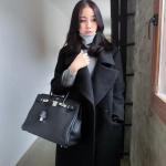 เสื้อโค้ทกันหนาว สไตล์เกาหลี ทรงยาวโคล่ง ผ้าสักกะหลาดบุซับในกันลม พร้อมส่งจ้า