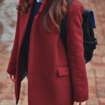 โค้ทกันหนาว สไตล์เกาหลี สีแดงเลือดนก สไตล์นักเรียนเกาหลี พร้อมส่ง