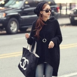 Sweater เสื้อไหมพรม ทรงสถักวยเนื้อดีอุ่น ยืดได้เยอะ สีดำพร้อมส่งจ้า