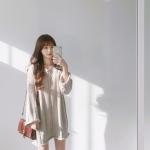 เสื้อไหมพรมตัวโคล่ง คอวี Sweater สีครีม ยืดได้เยอะ ผ้าเนื้อนุ่ม ใส่เดี่ยวๆ หวานๆ น่ารักมากค่าาา ><