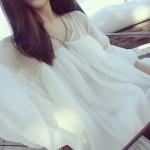 เสื้อแฟชั่น ทรงน่ารัก ซีทรู ผ้าชีฟองเบาโปร่ง สีขาว แถมเกาะอกพร้อมส่ง