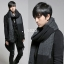 ผ้าพันคอกันหนาว ไหมพรม เกาหลี สีดำเทา แต่งเล่นลาย เท่ๆ พร้อมส่ง thumbnail 2