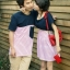 ชุดคู่รัก เกาหลี สีกรม+ขาวแดง ชุดผู้หญิงทรงน่ารัก ราคา/คู่ thumbnail 3