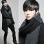 ผ้าพันคอกันหนาว ไหมพรม เกาหลี สีดำเทา แต่งเล่นลาย เท่ๆ พร้อมส่ง thumbnail 5