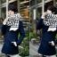 ผ้าพันคอกันหนาว ไหมพรม เกาหลี ลายตาราง ขาวดำ พร้อมส่ง thumbnail 3