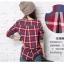 เสื้อผ้าแฟชั่นสไตส์เกาหลี เสื้อแขนยาว พร้อมส่ง ด้านหน้าสีเทา ด้านหลังแต่งลายสก็อตสีโทนแดงน้ำเงิน thumbnail 8