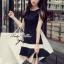 พร้อมส่ง - Dorothy Little Black Dress Pleats Trim Size M : มินิเดรสสีดำตัดขอบขาวที่กระโปรง thumbnail 1