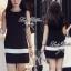 พร้อมส่ง - Dorothy Little Black Dress Pleats Trim Size M : มินิเดรสสีดำตัดขอบขาวที่กระโปรง thumbnail 4